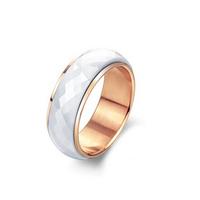 Rotating Ceramic Design Plated Rose Gold Stainless Steel Wedding Rings For Men Women
