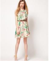 Hot women's Chiffon send belt floral sleeveless fashion dress flower