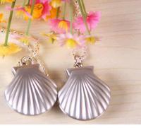 Antique silver shell pendant necklace quartz pocket watch children best gift PH657 10PCS/lot