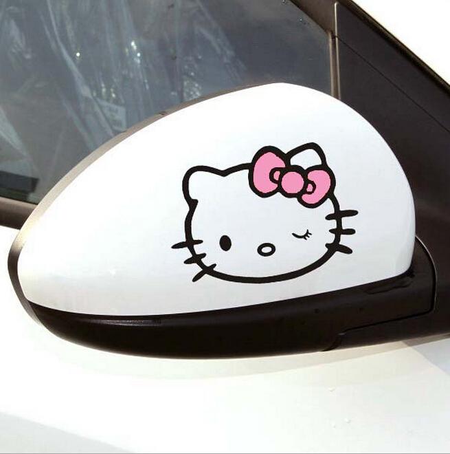 Kawaii car styling hello kitty racing series car stickers and decals 3D Carbon Fiber Vinyl cute cartoon Car Sticker accessories(China (Mainland))