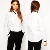 Womens 2015 New Black And White Contrast Color Turn Down Collar Long Sleeve Blouses Shirt For Free Shipping  XXL