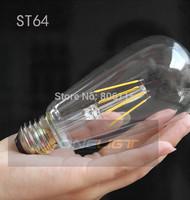 6X 2014 new arrive Glass Housing Hot sale LED lamp ST64 LED filament bulb 3W/6W/9W/12W E27 AC 220V Warm white LED bulb