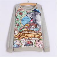 Free Shipping  winter Long sleeve hoodie Women pullover thin style Loose sport Hoodies Animal printed Women sweatshirt