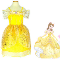 ohlees Princess Belle Costume Dress Beauty and the Beast Kids Children Girls Fancy Party Dresses Christmas Halloween character