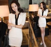 New Korea Style Women Slim Dresses Slim Clothes Sexy Slim Dresses V-neck Casual Clothes OL Clothes Vintage Style
