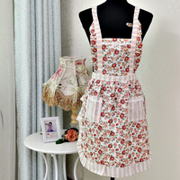 Korean style flower with plaid apron thicken double layers sleeveless printed pockets princess aprons clean kitchen helper