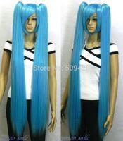 FSX590012W>>> 100cm Long Straight Turquoise blue Miku Hatsune Cosplay Wig + 2 Ponytails