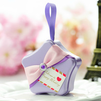 24 pcs Tin Wedding Candy Chocolate Gifts Boxes Star Shaped Wedding Party and Baby Shower Decorations 4 Colors Free Shipping