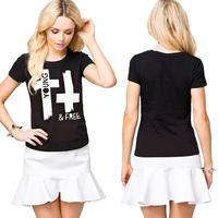 European Style Women T-shirt Fashion Printed Round Collar Short Sleeve Slim Waist  Black Cotton Tops Six Size Plus Size D621