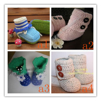 Free shipping retail baby grils lovely Spring  winter autumn shoes, handmade crochet knit baby fashion flower shoes boots