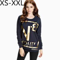 XS-XXL 2015 Spring and Summer Women's N . 8 Bronzier Letter Print Sweatshirts Fashion Long-Sleeve Knitting Sweatshirt