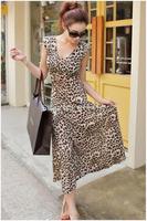 L030,Free shipping new v-neck sleeveless Leopard print expansion dress Bohemian dress,fashion long dress