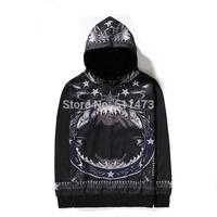 Cool new 2014 hip hop skate fashion unisex men Sharks star angele cotton pullover in black