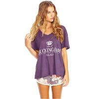Womens Tops Fashion 2015 Summer Camiseta feminina V-neck Loose Short Sleeve Buckingham Print t shirt Women White Purple C666