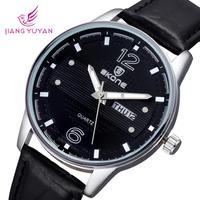 New Skone Brand Calendar Date Watches Quartz Men Watch Leather Round Dial Fashion Mens Wristwatches