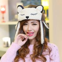 Fur cap Winter keep warm hats for women Lovely fox cap head with ear flaps  bImitation leather lambs wool  russian hat  YJK-F126