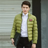 2014 Winter Autumn New Men's Light Thick Warm Fashion Casual Down Jacket Cotton Polyester Stand collar men's four colors coat