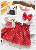 Retail autumn 2014 New Girl dress Korean ribbon Bow Long sleeve cute baby girls stitching stars dress party wedding dress