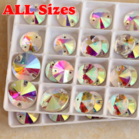 8mm,10mm,12mm,14mm,16mm,18mm Sew On Glass Crystal Round Rivoli Rhinestone Beads Buttons Crystal AB Clear AB All Sizes For Choice