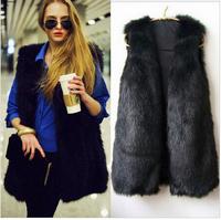 Crazy Discount Women Faux Fur Vest Winter Long Vest Sleeveless Luxury Fur Coat Plus Size Slim Fur