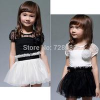 2014 summer New Kids Toddlers Flower Princess Cute Dress Girls Fashion Lace Dress  Tutu Mini Dress Free shipping