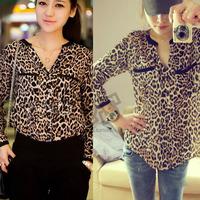 2014 Fashion women Loose V-neck chiffon shirt Blusas Wild Leopard Print Chiffon Blouse Lady Sexy Long Sleeve Casual Shirt VC0152
