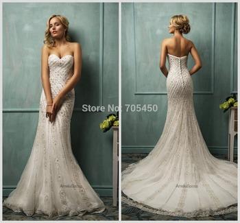 Элегантный Vestido де noiva белое кружево русалка свадебные платья милая рукавов суд поезд кнопка кристалл амелия Sposa Cloe