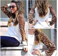 2014 autumn leopard Chiffon Sleeve Casual Sweatshirts Women spring long sleeve t shirt Fashion Brand girls hoodies VC0288
