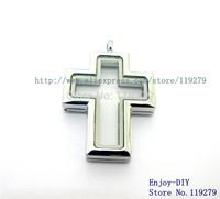 1PCS ! Cross magnetic glass floating charm locket Free Shipping