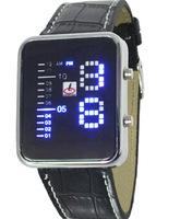 2015 new fashion men's real leather belt LED digital watches, military watches sports and leisure brands,