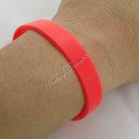 1 pc Silicone Bracelet Rubber Bangle Elastic Belt Soft Sport Cuff Solid Pink