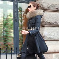 Prase 2015 Women White Duck Down Coat Slim Warm Winter Jacket Luxury Fur Collar Long Overcoat Plus Size XXL Hooded Parka