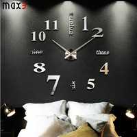 new 3D diy creative wall sticker wall decor clock big wall clock home decoration hours single clock safe wall watch unique gift