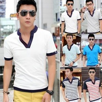 New Fashion Mens Cotton Short Sleeve V Neck T Shirt Striped Shirts 6 Colours Plus Size A1 Dx122