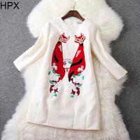 Women Retro Fashion Black/White Animal Fox Embroidery Straight Dress 2014 Autumn Winter New European American Style Designer