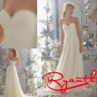 RBW135 Vestido De Casamento Sexy Sweetheart Backless Chiffon Beading Wedding Dresses 2015 Hot SaleBridal Gowns Wedding Dress