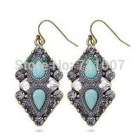 Red Blue Hot Fashion Accessories Vintage Stone Quality Alloy Drop Earrings Women Big Long Dangle Earring Lovisa Jewelry Oroton