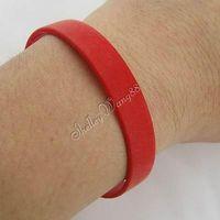 Fashion Silicone Rubber Bangle Elastic Belt Soft Sport Cuff Bracelet Solid Red