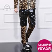 2014 leopard print trousers male original design men's clothing colorant match skinny pants male