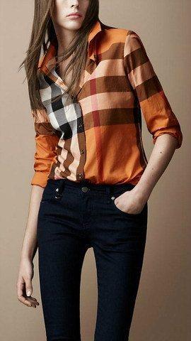 2015 Women Fashion British Brand Long Sleeve Big Plaid Casual Shirts/Designer Loose Fit Big Check Tops/Blouse SIZE M-XXL(China (Mainland))
