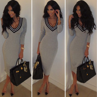 Free shipping 2014 New Autumn winter Women Casual long sleeve knee length knitted sweater Dress Bodycon Party Dress