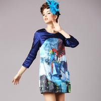 2015 blue plus size S-5XL spring antumn Brand Elegant Vintage Print Patchwork Long Sleeve Bud Hem Casual Dresses women dress
