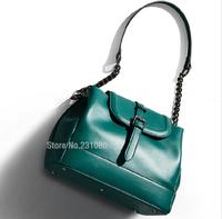 Hot!! Fashion Woman Handbag Genuine Leather Diagonal Package High quality Chain Bucket Bag Retro Big Bag