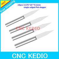 10pcs/lot 3.175MM , 15 Deg, 0.1mm V-Shape Carbide Cutter   single edged flat dagger  Free Shipping