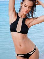 2015 New Arrival Women Round Neck Sleeveless Mesh Patchwork Sexy Bikini Set Summer Sexy Bikini Swimwear Beach Wear