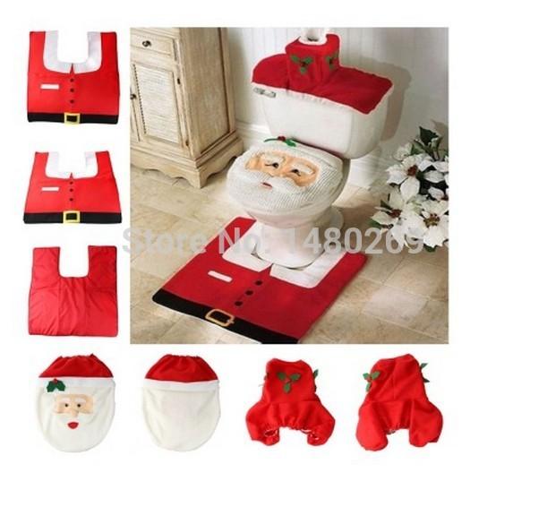 2014 heiße 1 Menge Phantasie santa toilettensitzabdeckung und teppich badezimmer-set Kontur teppich weihnachtsdekoration versandkostenfrei zu weihnachten