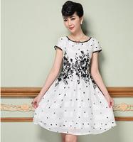 high quality spring/summer new women dress S-2XL vintage print dress for elegant lady plus size short sleeve casual dress G97Y