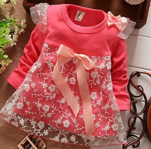 Мода стиль кол во продаж детские дети девушки дети кружева с бантом хлопок o-образным вырезом с длинным рукавом платье рубашки футболки , майки бесплатная доставка