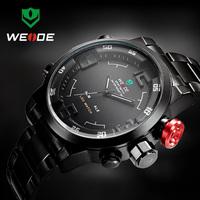 WEIDE watches men Luxury Brand digital led sports Military quartz watch Relogio Masculino full stainless steel men wristwatch