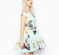 Sexy strapless collar Camaron color flower print dress A dress